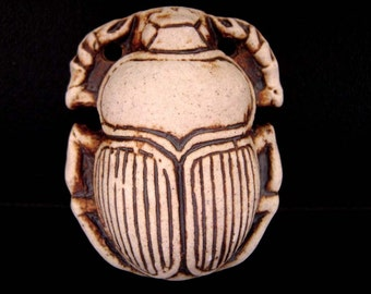 High Fired Ceramic Bottle Bead - Scarab