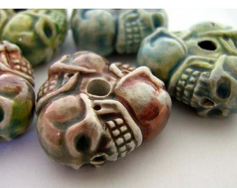 4 Large Raku Skull Wheel Beads - Ceramic, Peruvian, Skeleton, Halloween - RAK149
