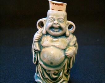 Raku Ceramic Bead Bottle - Standing Buddha - Peruvian, ceramic, mythological, fantasy - RAKBOT21