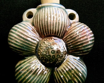 Raku Ceramic Bottle Bead - Daisy