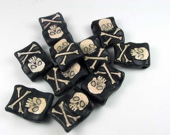 4 Large Pirate Flag Beads (black) - LG497