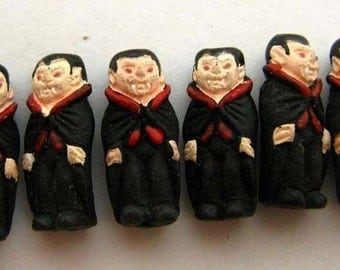10 Tiny Vampire Beads - ceramic beads, peruvian beads, halloween beads, CB523