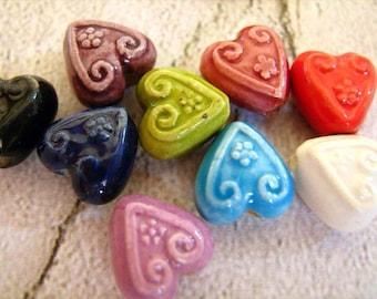 4 tiny Heart beads (mixed colors) - CB628