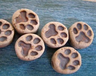 4 Tiny Dog Paw Print beads - CB636
