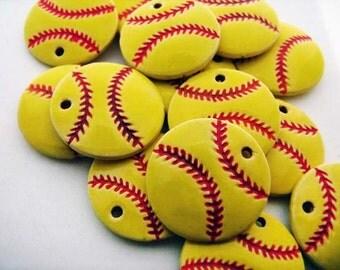 10 Large Softball Pendants