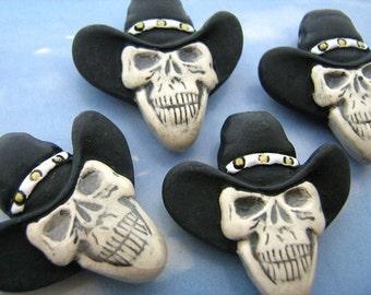 4 Large Skull Beads - Black Cowboy Hat - LG424