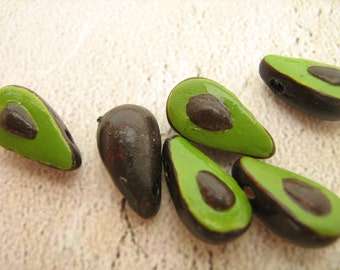 10 Tiny Avocado Beads - CB244