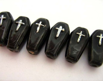20 Tiny Coffin Beads - CB524
