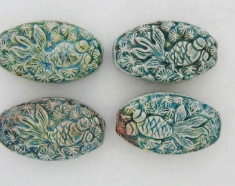 10 Raku Koi Pendants/Beads