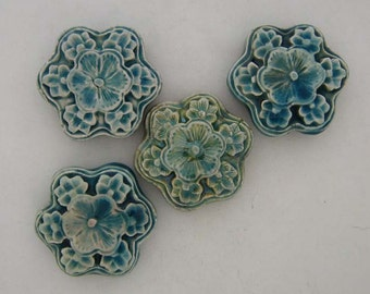 4 Large Raku Cinnabar Style Flower Beads