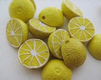 10 Tiny Lemon Beads