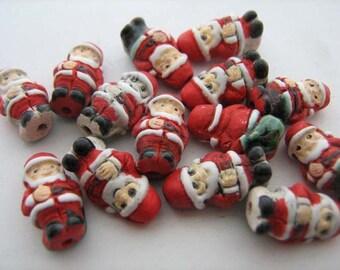10 Tiny Santa Beads