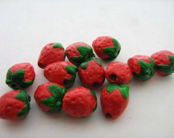 10 Tiny Strawberry Beads - CB235
