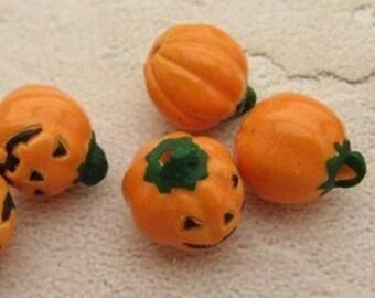 10 Tiny Jack O Lantern Beads
