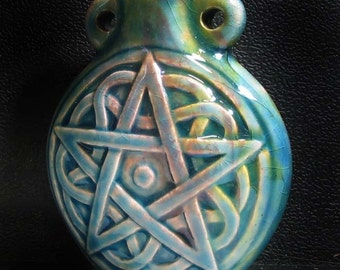 Raku Ceramic Bottle Bead - Pentagram - RAKBOT66