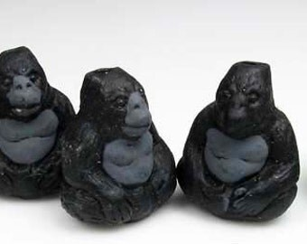 10 Tiny Gorilla Beads