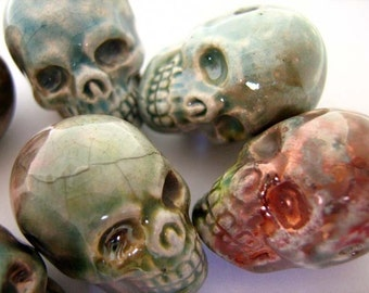 4 Large Raku Skulls - ceramic beads - RAK246