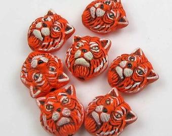 10 Tiny Tiger Head Beads - CB187