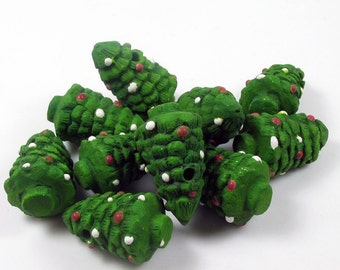 10 Large Christmas Tree Beads