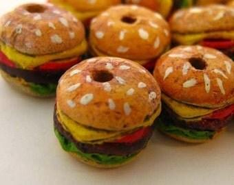 10 Tiny Hamburger Beads - CB682