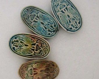 4 Raku Celtic Cranes Beads
