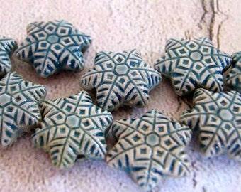 20 Tiny Ceramic Snowflake Beads - CB629