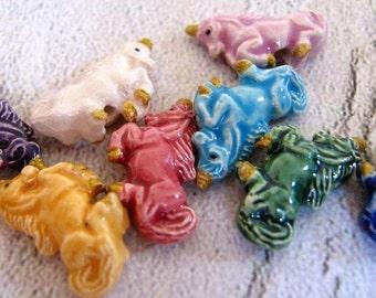 20 Tiny Unicorns Multicolored Beads - CB615