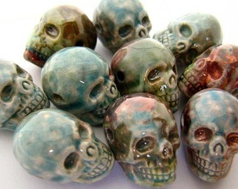 10 Large Raku Skulls - short jaw - RAK246