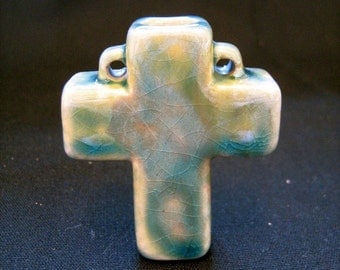 Ceramic Raku Bottle Bead - Cross - RAKBOT 24