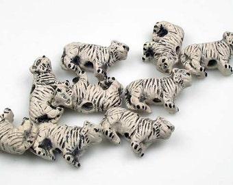 10 Tiny White Tiger Beads