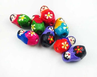 4 Tiny Russian Doll Beads - mixed colors - CB780