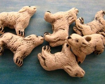 20 Tiny Howling Wolf Beads - white