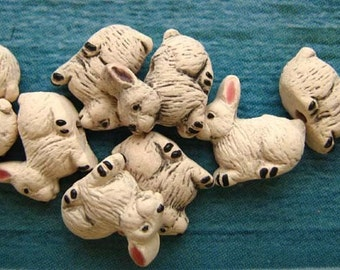 10 Tiny Rabbit Beads