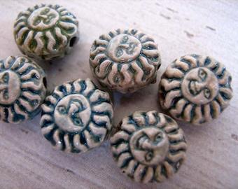 4 Ceramic Beads - Tiny Raku Sun - peruvian, charms - CB614