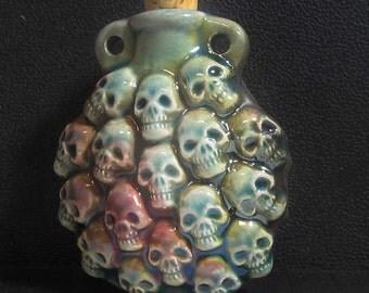 Raku Ceramic Bottle Bead - Skulls - RAKBOT 65
