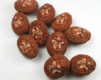 10 Large Hedgehog Beads - LG193