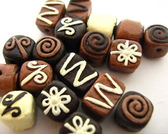 20 Tiny Chocolate Beads - mixed - CB739