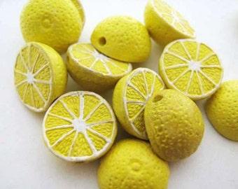 20 Tiny Lemon Beads