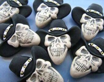 10 Large Cowboy Skulls - Black Hat - Peruvian, Ceramic, Skeleton, Cowboy, Halloween - LG424