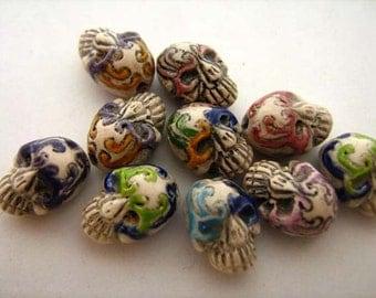 10 Tiny Masked Skull Beads