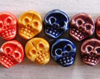 10 Skull Beads - flat mixed colors