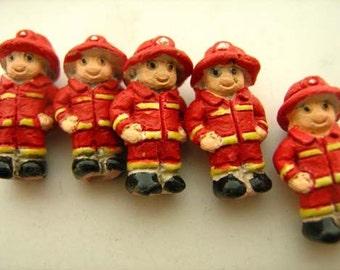 10 Tiny Ceramic Fireman Beads - CB654