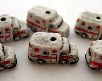 20 Tiny Ambulance Beads - CB659