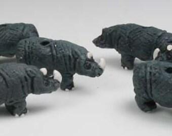 20 Tiny Rhino Beads - CB105