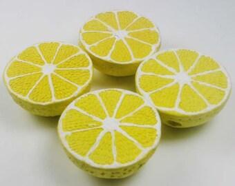 4 Large Lemon Beads - LG561
