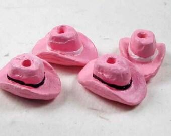 4 Tiny Pink Cowboy Hat Bead - CB697