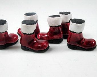 4 Large Santas Boot Beads - Santa Claus, Ceramic, Peruvian, Holiday, Christmas, Clothing, - LG160