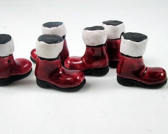 10 Large Santas Boot Beads - LG160