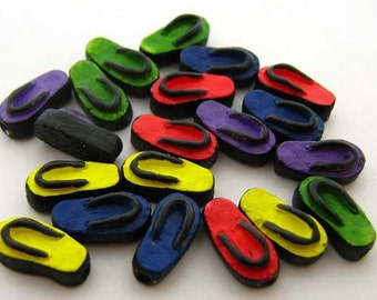 10 Tiny Mixed Sandal Beads -Peruvian beads - Ceramic Beads - shoe beads - accessories beads -  CB716