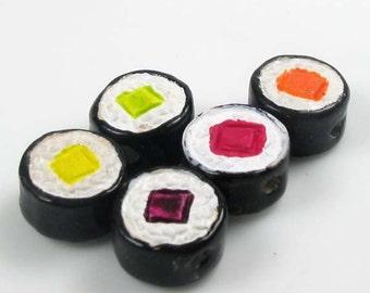 10 Tiny Sushi Maki Roll Beads